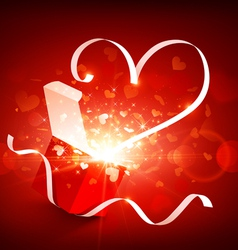 Gift box with fly hearts vector image