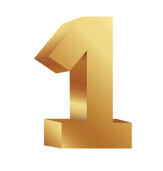 Gold number one icon vector