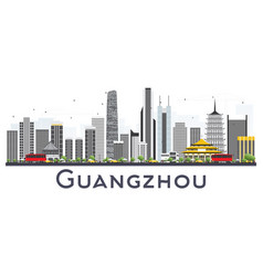 Guangzhou china city skyline with gray buildings vector