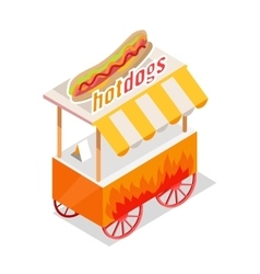 Hotdogs trolley isometric projection style design vector