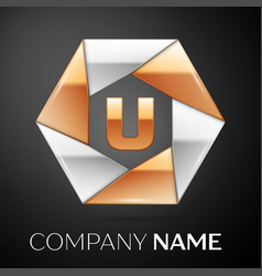 Letter u logo symbol in the colorful hexagon on vector