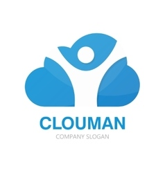 Logo combination of a cloud and man vector