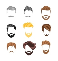 Male hairstyle constructor for face set vector