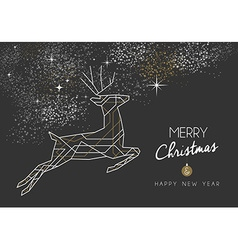 Merry christmas new year deer art deco outline vector image vector image