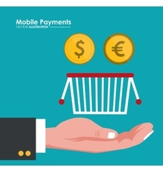 Mobile payment hand hold basket and coins dollar vector