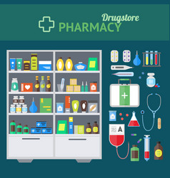 Pharmacy store and element set concept vector