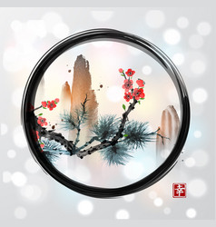 pine tree branch red sakura cherry tree in vector image vector image