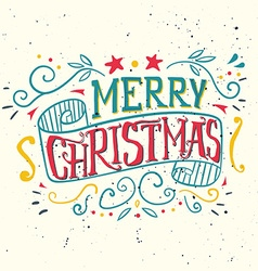 Postcard Christmas Painted in ink Hand lettering vector image vector image
