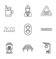 Railway work icons set outline style vector