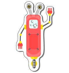 red friendly cartoon robot character vector image vector image