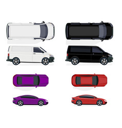 Set of black and white minibus red and purple car vector