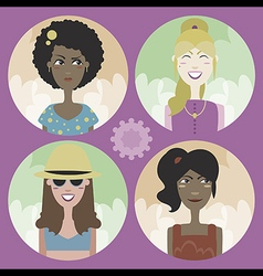 Set of four cartoon avatars - girls 02 vector image vector image