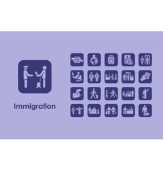 Set of immigration simple icons vector image