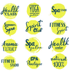 set of spa and health lettering logos vector image