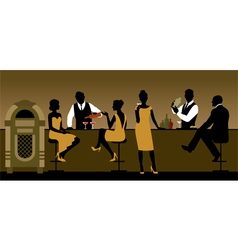 Silhouettes of a group of people drinking in a bar vector