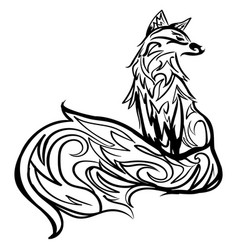 Stylized fox line art black and white tattoo vector