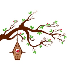 Tree Branch with modern birdhouse vector image vector image