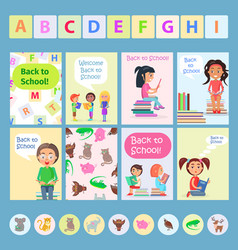 welcome back to school card with reading kids vector image vector image