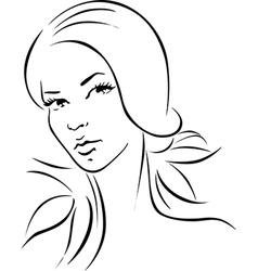 woman - black outline portrait vector image