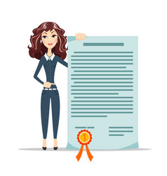 woman points to a certificate vector image vector image