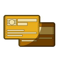 Yellow aged silhouette of credit card with chip vector