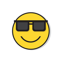 Yellow smiling face wear sun glasses positive vector