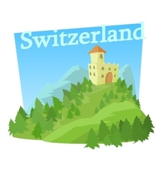 Switzerland castle icon cartoon style vector