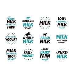 Milk set icons food drink symbol text vector