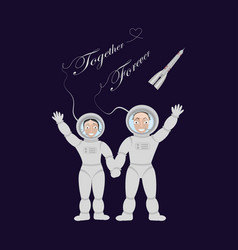 Pair of lovers astronauts vector