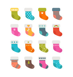 Set of colorful socks with different patterns vector
