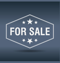 For sale hexagonal white vintage retro style label vector