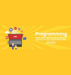 Programming and coding website development banner vector