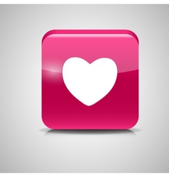 Heart shaped glass button vector
