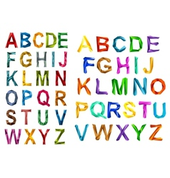 Colorful origami alphabet letters sets vector