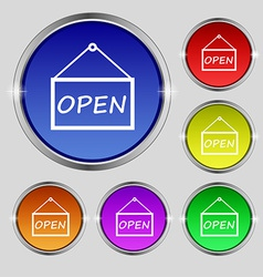 Open icon sign round symbol on bright colourful vector
