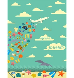 Travel poster vintage style design vector