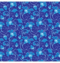 Dark blue turkish floral seamless pattern vector