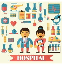 Icons and characters on the medical theme vector