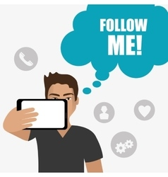 Follow me social and business theme design vector