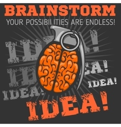 Idea - brainstorm brain grenade vector