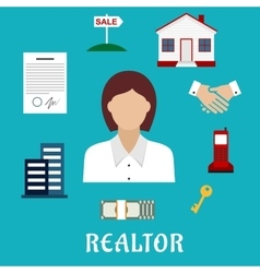 Realtor or real estate agent profession icons vector