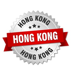 Hong kong round silver badge with red ribbon vector