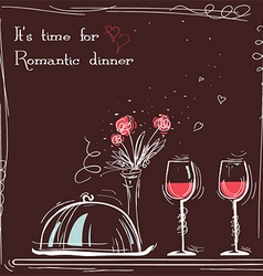 Love card romantic dinner sketch with text vector