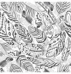 Feathers boho seamless pattern vector