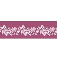 Abstract ribbon lace with flowers and butterflies vector