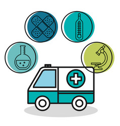 ambulance vehicle medical emergency design vector image