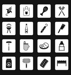 Bbq food icons set squares vector