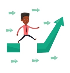 Businessman jumping over gap on arrow going up vector