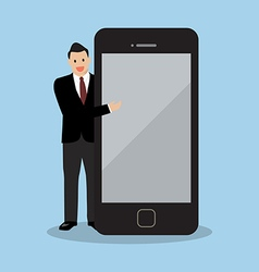 Businessman pointing to the screen of a smartphone vector
