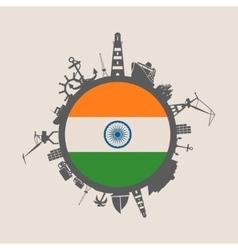 Cargo port relative silhouettes india flag vector